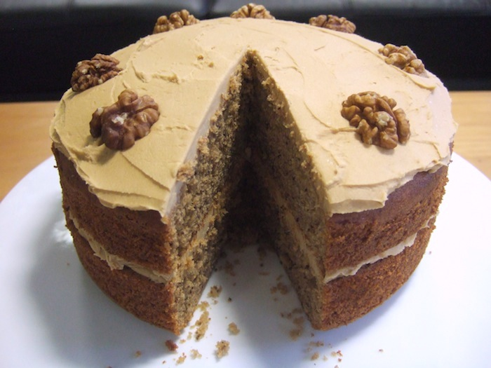 Nigella's coffee and walnut cake (GF) (adapted from here )
