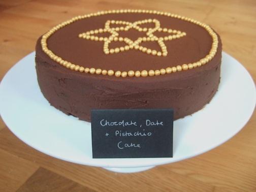 Chocolate, date and pistachio cake