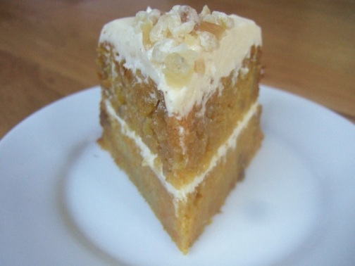 Orange, ginger and white chocolate cake