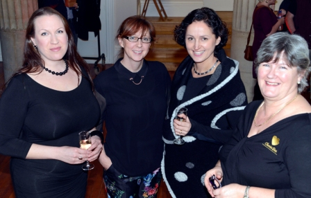 Katie, second from the left, with Emma Ravensfield of Exeter Alternative Theatre and fashion show host Celia Delaney